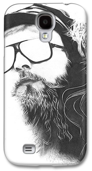 Drawing Pyrography Galaxy S4 Cases - The Biker Galaxy S4 Case by Cynthia Adams