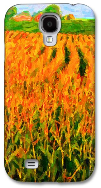 Rural Scenes Digital Galaxy S4 Cases - The Cornfield Galaxy S4 Case by Wingsdomain Art and Photography