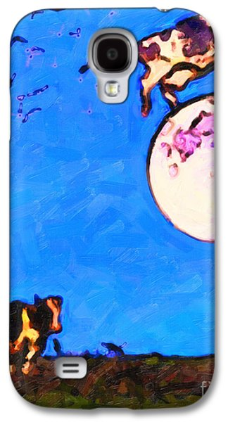 Cow Digital Galaxy S4 Cases - The Cow Jumped Over The Moon . Painterly Galaxy S4 Case by Wingsdomain Art and Photography