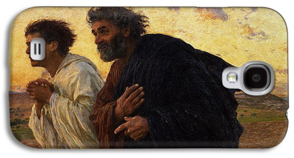 Male Paintings Galaxy S4 Cases - The Disciples Peter and John Running to the Sepulchre on the Morning of the Resurrection Galaxy S4 Case by Eugene Burnand