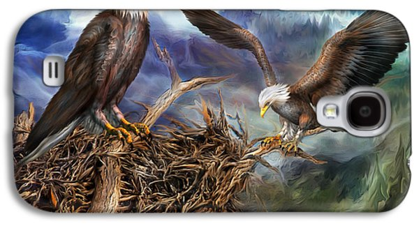Eagle Mixed Media Galaxy S4 Cases - The Eagles Nest Galaxy S4 Case by Carol Cavalaris