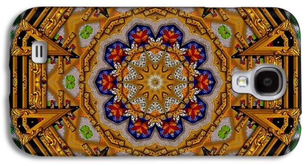 Contemplative Mixed Media Galaxy S4 Cases - The golden sacred mandala in wood Galaxy S4 Case by Pepita Selles