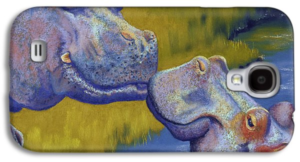 Blue Pastels Galaxy S4 Cases - The Kiss - Hippos Galaxy S4 Case by Tracy L Teeter