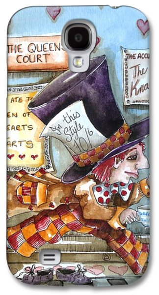 Mad Hatter Paintings Galaxy S4 Cases - The Mad Hatter - in court Galaxy S4 Case by Lucia Stewart