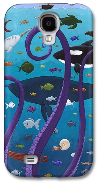 Studio Drawings Galaxy S4 Cases - The Old Man and the Sea Monster Galaxy S4 Case by Christy Beckwith