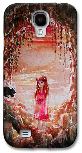 Flower Pink Fairy Child Drawings Galaxy S4 Cases - The Princess and the Cat Galaxy S4 Case by Rachel Christine Nowicki