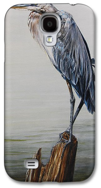 Mist Paintings Galaxy S4 Cases - The Sentinel - Portrait of a Great Blue Heron Galaxy S4 Case by Rob Dreyer AFC