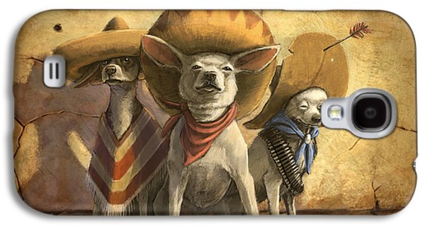 Best Sellers -  - Dogs Digital Art Galaxy S4 Cases - The Three Banditos Galaxy S4 Case by Sean ODaniels