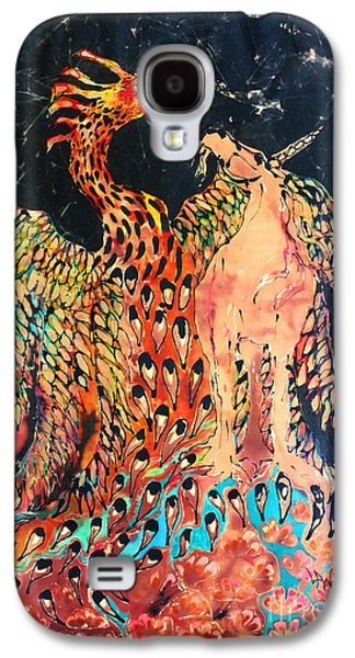 Emergence Tapestries - Textiles Galaxy S4 Cases - The Unicorn and Phoenix Rise from the Earth Galaxy S4 Case by Carol Law Conklin
