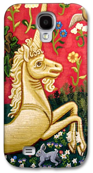 Green Tapestries - Textiles Galaxy S4 Cases - The Unicorn Galaxy S4 Case by Genevieve Esson