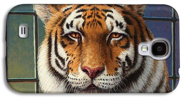 Stripes Paintings Galaxy S4 Cases - Tiger in Trouble Galaxy S4 Case by James W Johnson