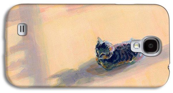 Gray Tabby Galaxy S4 Cases - Tiny Kitten Big Dreams Galaxy S4 Case by Kimberly Santini
