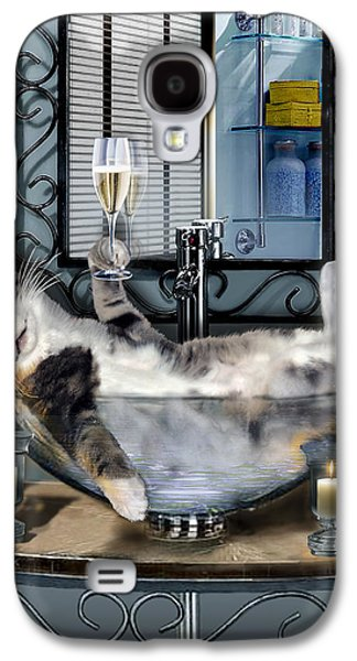 Digital Paintings Galaxy S4 Cases - Funny pet print with a tipsy kitty  Galaxy S4 Case by Gina Femrite