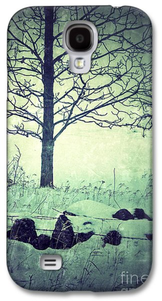 Rural Snow Scenes Galaxy S4 Cases - Tree and Fence in the Fog and Snow Galaxy S4 Case by Jill Battaglia