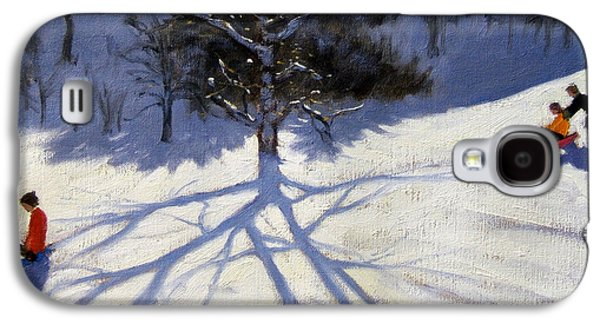 Tree And Two Tobogganers Galaxy S4 Case by Andrew Macara
