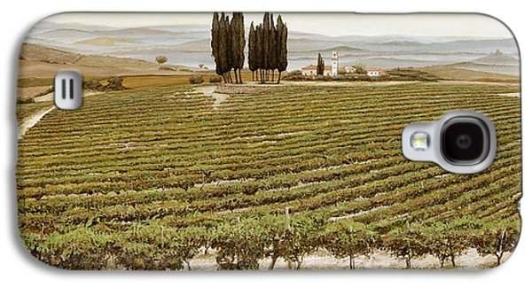 Italian Wine Paintings Galaxy S4 Cases - Tree Circle - Tuscany  Galaxy S4 Case by Trevor Neal