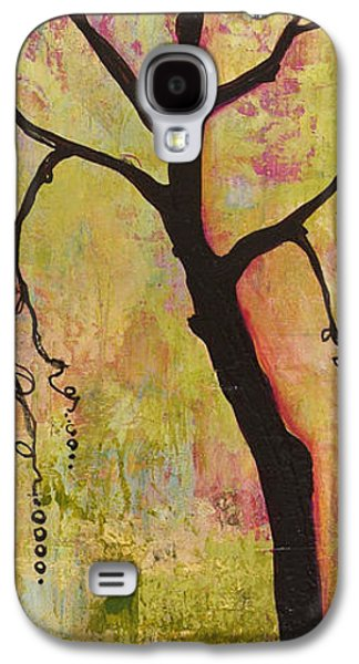 Peaceful Scene Paintings Galaxy S4 Cases - Tree Print Triptych Section 1 Galaxy S4 Case by Blenda Studio