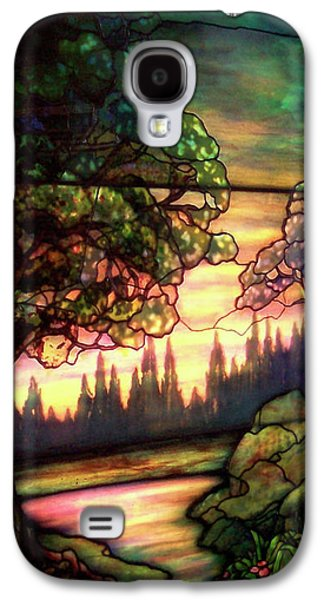 Portraits Glass Art Galaxy S4 Cases - Trees Stained Glass Window Galaxy S4 Case by Thomas Woolworth