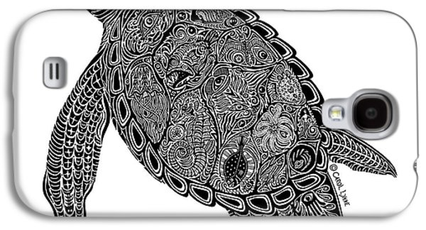 Reptiles Drawings Galaxy S4 Cases - Tribal Turtle I Galaxy S4 Case by Carol Lynne