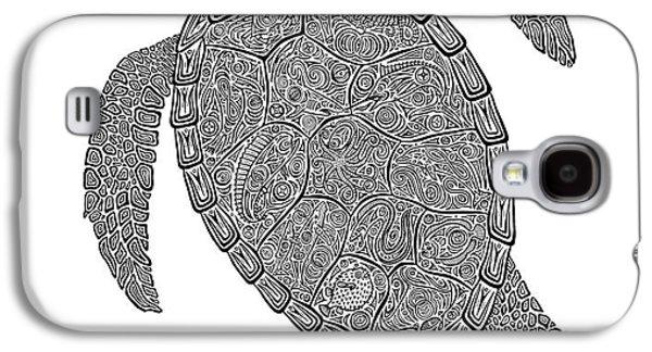 Reptiles Drawings Galaxy S4 Cases - Tribal Turtle II Galaxy S4 Case by Carol Lynne