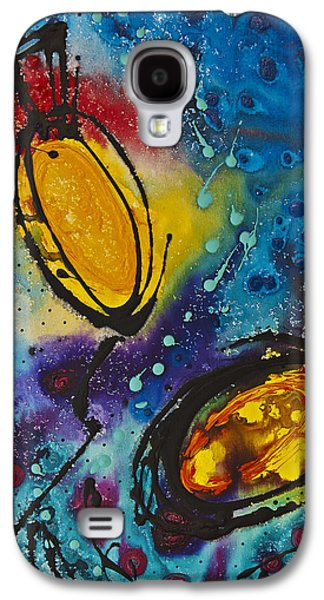 Abstract Canvas Galaxy S4 Cases - Tropical Flower Fish Galaxy S4 Case by Sharon Cummings