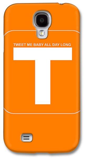 Social Galaxy S4 Cases - Tweet me baby all night long Orange Poster Galaxy S4 Case by Naxart Studio