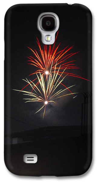 Fireworks Paintings Galaxy S4 Cases - Twin Fireworks Galaxy S4 Case by Sumit Mehndiratta