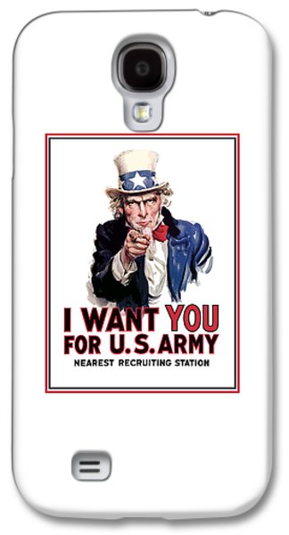 Americans Digital Art Galaxy S4 Cases - Uncle Sam -- I Want You Galaxy S4 Case by War Is Hell Store