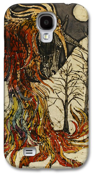Mystical Tapestries - Textiles Galaxy S4 Cases - Unicorn and Phoenix Galaxy S4 Case by Carol  Law Conklin