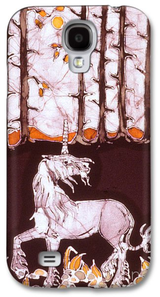 Mystical Tapestries - Textiles Galaxy S4 Cases - Unicorn Below Trees in Autumn Galaxy S4 Case by Carol  Law Conklin