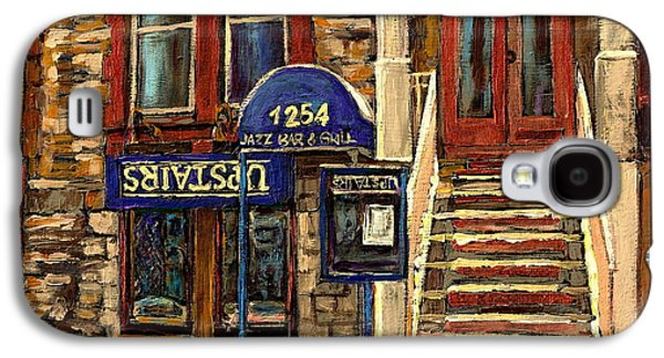 Montreal Land Marks Paintings Galaxy S4 Cases - Upstairs Jazz Bar And Grill Montreal Galaxy S4 Case by Carole Spandau