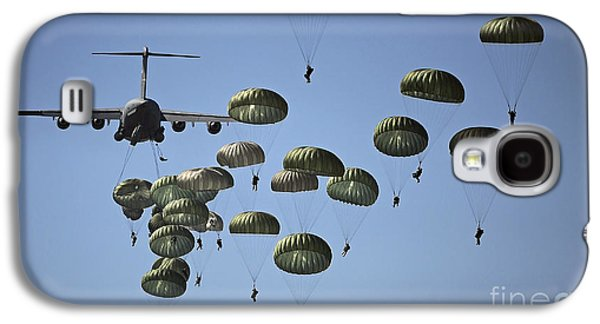 Color Image Galaxy S4 Cases - U.s. Army Paratroopers Jumping Galaxy S4 Case by Stocktrek Images