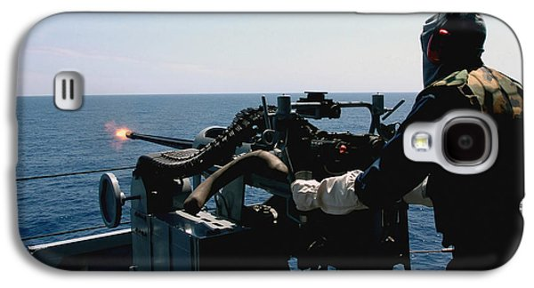 Boxer Galaxy S4 Cases - U.s. Navy Gunners Mate Fires A Mark 38 Galaxy S4 Case by Stocktrek Images