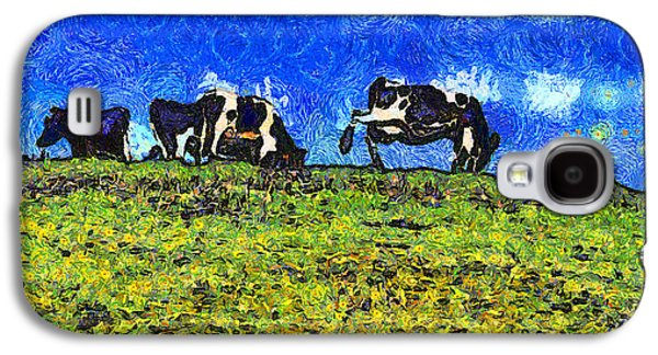 Cow Digital Galaxy S4 Cases - Van Gogh Goes Cow Tipping 7D3290 Galaxy S4 Case by Wingsdomain Art and Photography