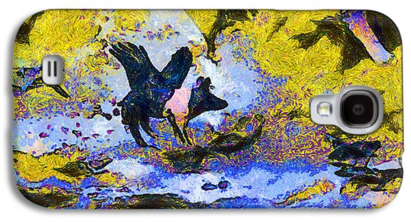 Geese Digital Art Galaxy S4 Cases - Van Gogh.s Flying Pig 3 Galaxy S4 Case by Wingsdomain Art and Photography