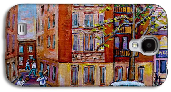 Old Pitcher Paintings Galaxy S4 Cases - Van Horne Boulevard Montreal Street Scene Galaxy S4 Case by Carole Spandau