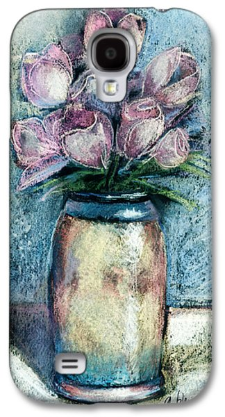 Floral Pastels Galaxy S4 Cases - Vase Of Pink Tulips Galaxy S4 Case by Arline Wagner
