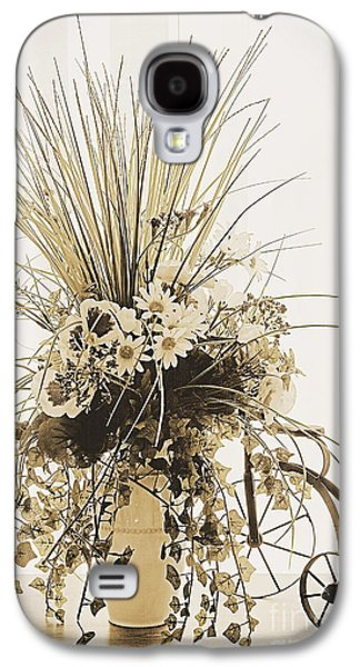 Duo Tone Galaxy S4 Cases - Vase with flowers on a window table Galaxy S4 Case by Ed Churchill
