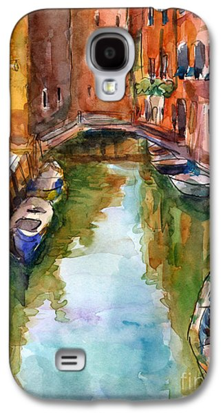 Street Drawings Galaxy S4 Cases - Venice Canal painting Galaxy S4 Case by Svetlana Novikova