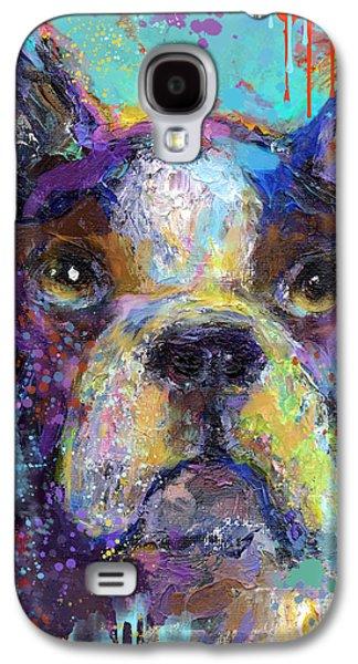 Puppies Mixed Media Galaxy S4 Cases - Vibrant Whimsical Boston Terrier Puppy dog painting Galaxy S4 Case by Svetlana Novikova