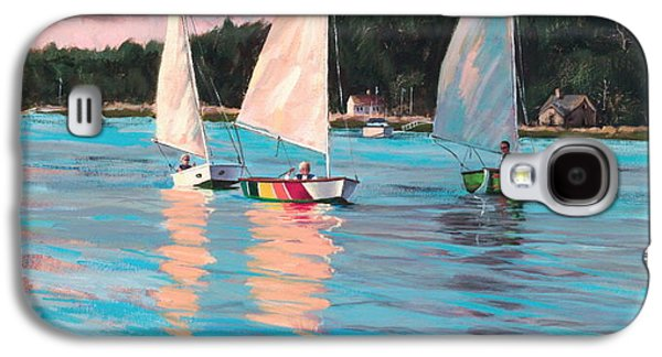 Sailboat Ocean Paintings Galaxy S4 Cases - View From Richs Boat Galaxy S4 Case by Laura Lee Zanghetti