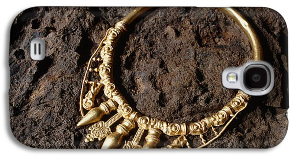 Gold Necklace Galaxy S4 Cases - View Of A Golden Celtic Necklace During Excavation Galaxy S4 Case by Volker Steger