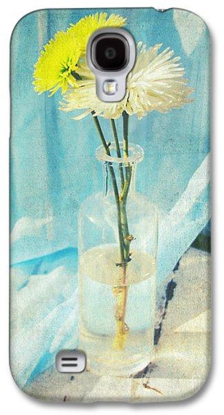 Sunny Mixed Media Galaxy S4 Cases - Vintage flowers in a bottle vase sunny still life print Galaxy S4 Case by Svetlana Novikova