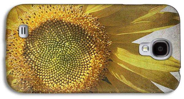 Parchment Galaxy S4 Cases - Vintage sunflower Galaxy S4 Case by Jane Rix