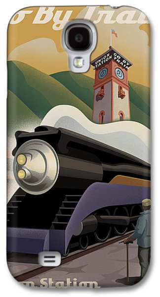 Rail Digital Art Galaxy S4 Cases - Vintage Union Station Train Poster Galaxy S4 Case by Mitch Frey