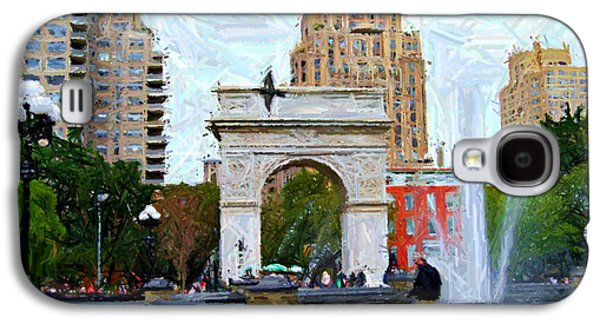 Dog Walking Digital Art Galaxy S4 Cases - Sketch of Dog Walking at Washington Square Park Galaxy S4 Case by Randy Aveille