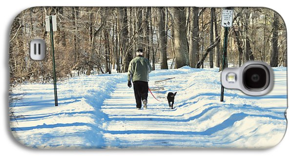 Dogs In Snow. Galaxy S4 Cases - Walking the dog Galaxy S4 Case by Paul Ward