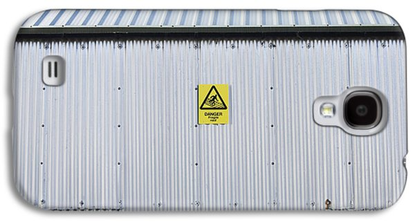 Metal Sheet Galaxy S4 Cases - Warning Sign on an Industrial Building Galaxy S4 Case by Iain Sarjeant