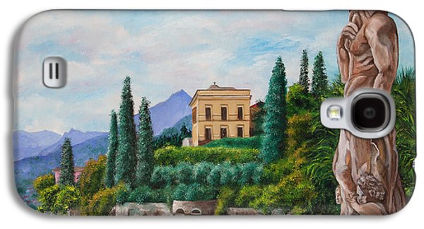 Lake Como Paintings Galaxy S4 Cases - Watching Over Lake Como Galaxy S4 Case by Charlotte Blanchard