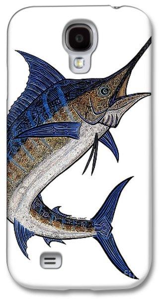 Marlin Galaxy S4 Cases - Water Color Tribal Marlin III Galaxy S4 Case by Carol Lynne